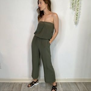 SUNDAY BEST strapless jumpsuit pockets army green